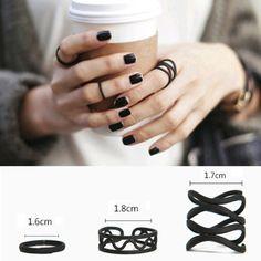 3PCS-Womens-Punk-Black-Stack-Plain-Above-Knuckle-Ring-Midi-Finger-Tip-Rings-BBU