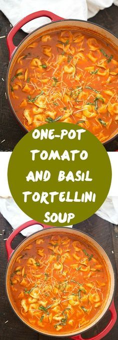 One-Pot Tomato and Basil Tortellini Soup - Hearty, comforting, flavorful and a quick weeknight meal! So much easier than soup in the crock-pot!