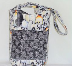 Penguin Tote Bag Knitting Bag Quilted Quilted by SewNSewSister