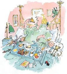 Breakfast in Bed - Quentin Blake Illustration Quentin Blake Illustrations, Illustrations Posters, Vintage Illustration Art, Graphic Illustration, Chris Riddell, Roald Dahl Books, Fairytale Art, Cartoon Tv, Childrens Books