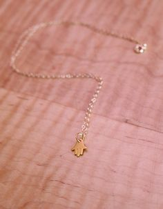 Dainty Gold Hand of Fatima Necklace by cocoandtoast on Etsy
