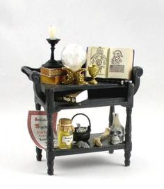 Dollhouse Miniature Black Artisan Witches Table with accessories