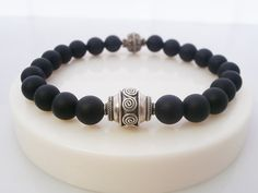 Men's Matt Black Onyx and Sterling Silver by KartiniStudio on Etsy