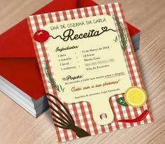 Convite Chá de Cozinha - Xadrez Vermelho