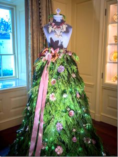 seamstress mannequin decorated for Christmas at the White House