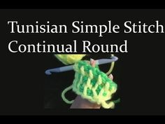 Tunisian Simple Stitch Crochet in the Round - Worked in the continual round with two strands of yarn and the double ended crochet hook.