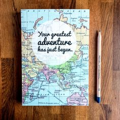 A beautiful journal covered in a vintage map print with a message to inspire your adventures. It makes a lovely graduation gift as your grad start