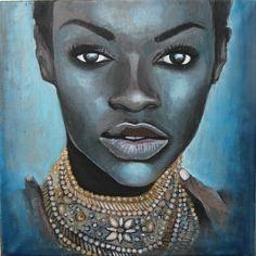 African Woman I.  - 40x40cm, akryl na płótnie.