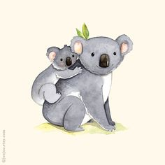 kids room art, Alphabet animals, Watercolor painting, Koala print, 8x10, Mother and baby koala, K is for Koala, Koala illustration
