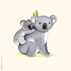 kids room art, Alphabet animals, Watercolor painting, Koala print, 8x10, Mother and baby koala, K is for Koala, Koala illustration