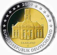 euro: Ludwigskirche in Saarbrücken (Saarland).Country: Germany Mintage year: 2009 Issue date: Face value: 2 euro Diameter: mm Weight: g Alloy: Bimetal: CuNi, nordic gold Quality: Proof, BU, UNC Mintage: 30 mil. Piece Euro, La Sarre, Euro Coins, Legal Tender, Gold Money, Commemorative Coins, World Coins, Coin Collecting, Germany