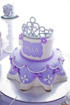Gorgeous cake at a Sofia the First birthday party! See more party planning ideas at CatchMyParty.com!