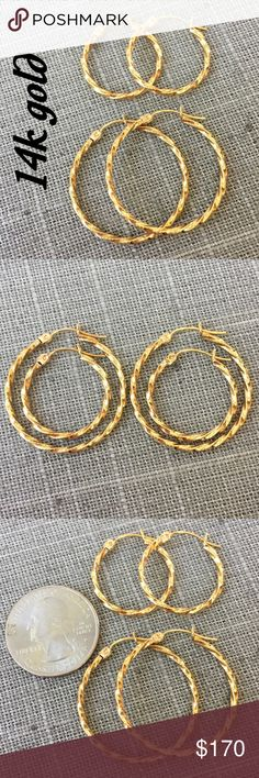 """2 pairs of 14k yellow gold hoop earrings Beautiful set of 2 pairs of 14k yellow gold hoop earrings. Marked 14k. Small measures 1"""" x 1"""", Large 1.25"""" x 1.25"""". These earrings have beautiful detail! They are both in great pre-owned condition, ready to wear dressed up or down! Great everyday wear or perfect gift for someone special, or purchase 1 for you & give 1 as a gift! Thanks for looking. Please ask ?'s b4 purchase. I ship same day. Please make REASONABLE offer using offer button only. No…"""