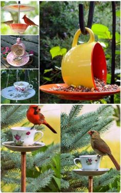 50 Brilliant Repurposing Ideas To Turn Old Kitchen Items Into Exciting New Things : Repurposed Teacup Bird Feeder Diy Bird Feeder, Humming Bird Feeders, Homemade Bird Feeders, Repurposed Items, Upcycled Crafts, Garden Ideas Using Recycled Items, Diy Crafts, Old Kitchen, Kitchen Items