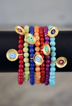 Evil Eye Color Bracelets. $13.00, via Etsy.