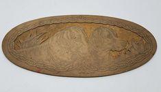 Antique Flemish Art Wood Burning Pyrography Plate Folk Art Labrador Dog Chain #FlemishArtCompany
