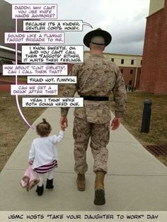 Funny USMC drill sergeant and his daughter. Military Quotes, Military Humor, Military Life, My Marine, Marine Corps, Usmc, Marines, Funny Memes, Hilarious