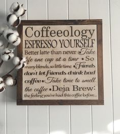 This great framed sign deserves a place in your kitchen of you are a coffee lover. Perfect to display by your coffee bar, the office coffee area, or it would make a perfect gift for your favorite coffee lover!  Sign measures approximately 12X12  Expertly hand cut and sanded to perfection. The frame on this piece is made from high grade pine wood and stained with General Finishes Antique Walnut Gel Stain. The crisp lettering is finished with Heirloom Traditions chalk type paint in Truffle and…