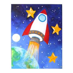 Art for Kids ROCKET SHIP 11x14 Acrylic Canvas Space by nJoyArt.  This original paintings is great for the space themed kids room. Blast off!!