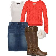 orange-white-jeanskirt- boots