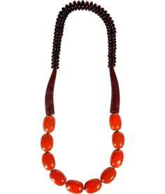 Brown And Orange Ethnic-inspired Necklace by Antik Batik