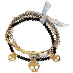 Skulls, Beads And Sword Set Of 3 Stretch Bracelets, In Black with Gold Finish . $15.99