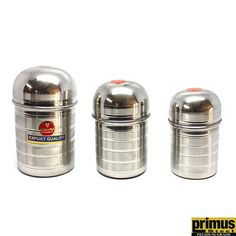 Primus Steel Dome Storage Canister Set of 3 Pcs Kitchen Storage Containers, Storage Canisters, Buy Kitchen, Kitchen Items, Stainless Steel Containers, Kitchenware, Tableware, Storage Sets, Canister Sets