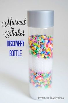 This musical sensory bottle is a great toddler or preschool activity that children love! Plus it's an easy way to make a homemade instrument. Little ones and big ones alike will love this musical shaker discovery bottle with beads! Diy Sensory Toys, Sensory Bags, Sensory Bottles, Baby Sensory, Sensory Activities, Infant Activities, Activities For Kids, Sensory Play, Play Activity