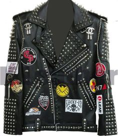 Studded Leather Jacket, Biker Leather, Cowhide Leather, Leather Men, Black Leather, Leather Jackets, Real Leather, Steam Punk, Metal Spikes