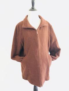 Eileen Fisher Womens Zip Up Jacket Size L Italian Fabric Wool Lined Collar Brown #EileenFisher #BasicJacket