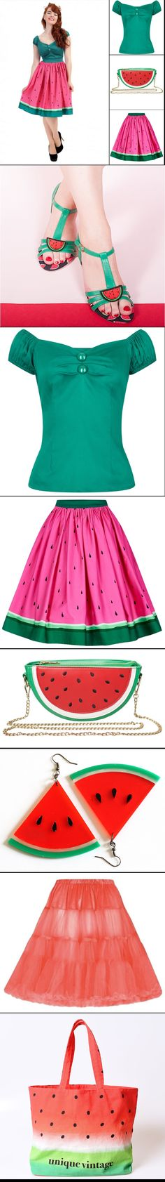 Watermelon Outfit for Summer - Find all the Products here:  http://pinup-fashion.de/17842/wassermelonen-collage/  #watermelon #melon #melone #wassermelone #fashion #vintage #retro #summerdress #dress