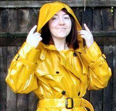 Yellow Satin Rubber Hooded Raincoat