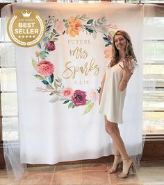 Bridal Shower Decorations, Floral Bridal Shower Backdrop, Backdrop for Bridal Shower Bridal Shower Backdrop, Bridal Shower Rustic, Bridal Shower Decorations, Bridal Showers, Bridal Shower Pictures, Engagement Party Decorations, Photo Booth Backdrop, Wedding Photography, Banner