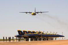 The Blue Angels C-130 Hercules Transport, Fat Albert, performs its High Speed Pass.