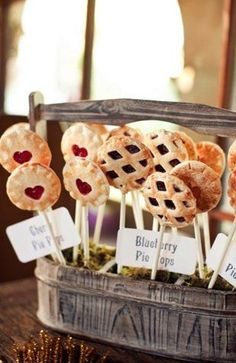 "These bitesize pie pops are not only ""cute as pie"" but perfect little treats for your guests while they dance and mingle."