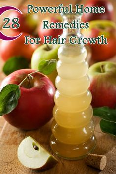 28 Powerful Home Remedies For Hair Growth e.g., Apple cider vinegar: gently cleanses the scalp and maintains the PH balance of the hair, thus accelerating hair growth. Use the apple cider vinegar as a final rinse after shampoo to get healthy and shiny hair.