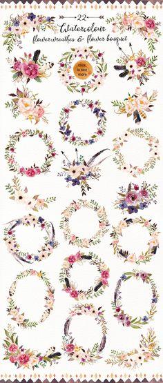 Watercolour Tribe&Flower DIY+Bonus by Graphic Box on @creativemarket