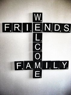 Scrabble Wall Art, Welcome Sign, Welcome Friends & Family Giant Scrabble Tiles, Large Scrabble Letters, Scrabble Letter Crafts, Framed Letters, Scrabble Wall, Wooden Letters, Wood Burning Art, Word Art, Signs