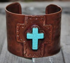 Padre Copper Cross with Turquoise Cuff Bracelet  $49.95  http://www.giddyupglamouronline.com/catalog.php?item=5524