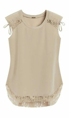 Little details make this silk top undeniably feminine, like lace and ruched accents. Little details make this silk top undeniably feminine, like lace and ruched accents. Fashion Clothes, Fashion Dresses, Casual Outfits, Cute Outfits, Lace Tops, Sewing Clothes, Blouse Designs, Feminine, How To Wear