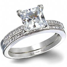 A Perfect 3CT Princess Cut Russian Lab Bridal Set Ring
