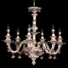 NEW CAPODIMONTE Chandelier w/6 Arms Brown/Gold w/Roses Made in Italy #Capodimonte #Capodimonte