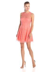BB Dakota Women's Lotte Scallop Lace Sleeveless Fit and Flare Dress, Sorbet, 2