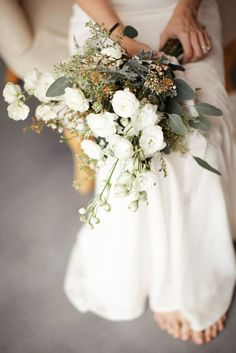 White Rose Wedding Bouquet - Ailsa Munro Wedding Dresses Styling by Elle at Inspire Hire Flowers by Clare Kilgour Venue Upton Barn Devon Images by Rachel Rose Photography