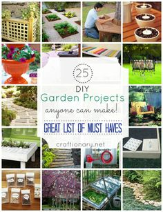 DIY garden projects... great ideas (tire into pond, tictac containers for seeds... pallet table with centre planter, raised beds...)