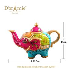high quality indian teapot elephant teapot Elephant Teapot, Tea Pots, Hand Painted, Indian, Gift Ideas, Gifts, Presents, Tea Pot, Favors