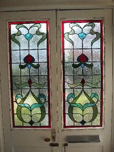 Victorian Stained Glass Panels, Stained Glass Door, Fused Glass Art, Glass Front Door, Glass Doors, Front Doors, Leadlight Windows, Front Door Colors, Stained Glass Patterns