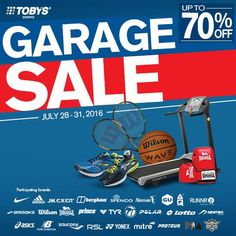 Get the best sports items from the top sports brands at affordable prices! #TobysSports #TobysSportsGarageSale #Discount #Sale #SportsGearSale
