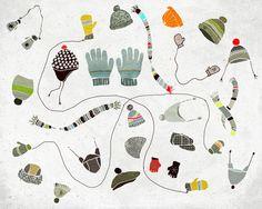 Fevrier - Art - Print of an original illustration - Color Print - Drawing - Winter glove hat and scarf - Children room decor. $25.00, via Etsy.