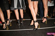 Spring 2014 Fashion Week Shoes: Herve Leger's Ankle-Cuff Heels Neon Heels, Comfortable High Heels, Runway Shoes, 2014 Trends, Sneaker Heels, Spring Fashion Trends, Spring Shoes, Black Pumps, Me Too Shoes